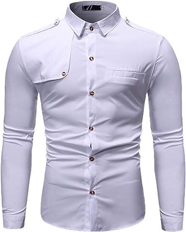 LANSKIRT Hombre Camisetas de Manga Larga Camisa Holgada On Botones de Solapa Blusas de Invierno Formal Tops: Amazon.es: Ropa y accesorios