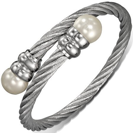 Stainless Simulated Pearls Twisted Bracelet product image