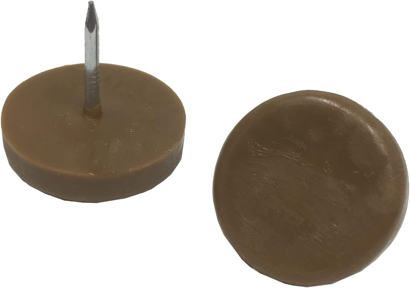 """Desunia 1"""" Dia. Nylon Slider Glides for Chairs, Stools, Tables - Protects Your Floors as Furniture Slides Like Magic Over Tile, Carpet, Hardwood - Brown - Box of 25"""