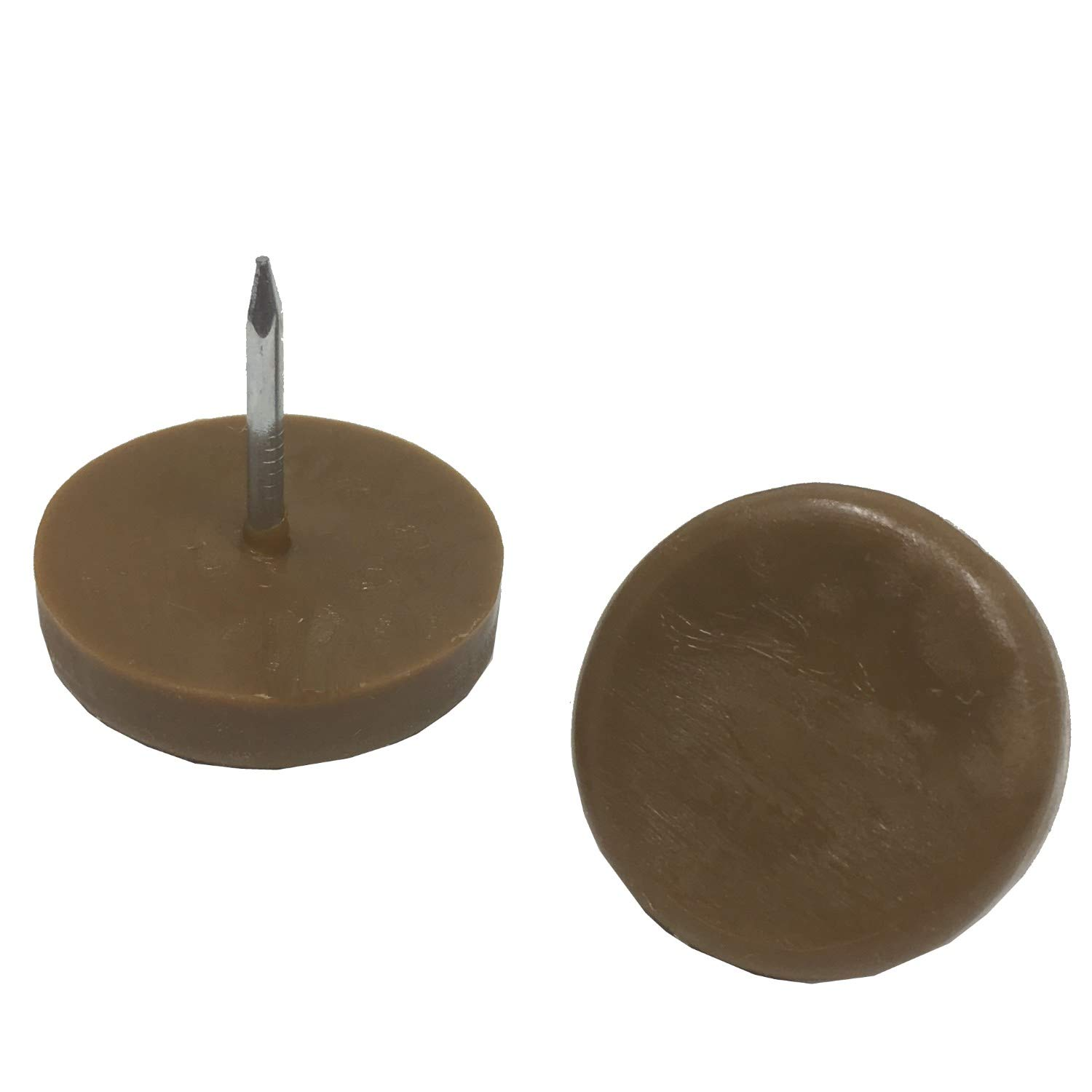 Desunia 1'' Dia. Nylon Slider Glides for Chairs, Stools, Tables - Protects Your Floors as Furniture Slides Like Magic Over Tile, Carpet, Hardwood - Brown - Box of 25