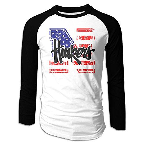 UglyBee University Of Nebraska Lincoln Men's Long Sleeve Raglan Shirti, Color BlackSize S