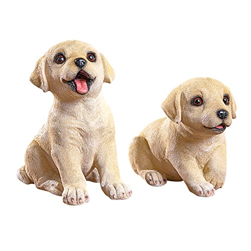 Collections Etc Labrador Puppies Garden Figurines - Set of 2