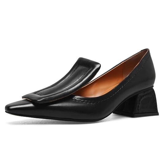 Nine Seven Genuine Leather Women's Cute Dressy Chunky Heels, Square Toe Handmade Fashion Pumps Shoes Oxfords by Nine Seven