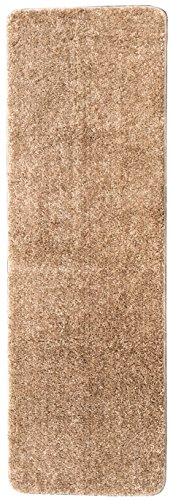 Ottomanson Luxury Collection Camel Solid Runner Rug with Non-Slip/Rubber-Backing Bath Rug, 2'2