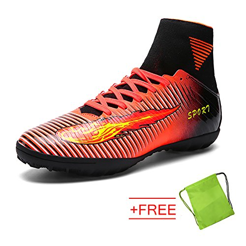 VITIKE Mens Boys SG Soft Ground Football Boots Leather Soccer Boot(EU44-Orange) Brccds