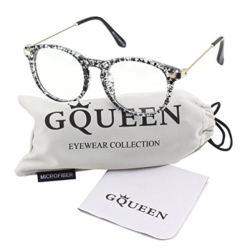 GQUEEN 201588 Fashion Oval Horn Rimmed Keyhole Metal Temple Clear Lens Glasses,Black Spot