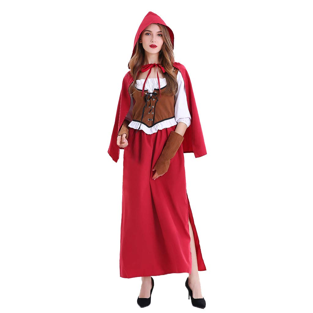 Chirpa Halloween Costume, Fashion Women Halloween Cosplay Lady Luxury Little Red Riding Hood Dress by Chirpa
