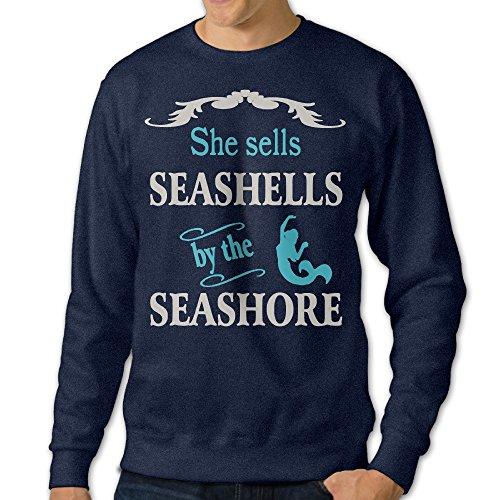 Alipapa Men's Long Sleeve She Sells Sea Shells Beach Hoodies - Navy Size M