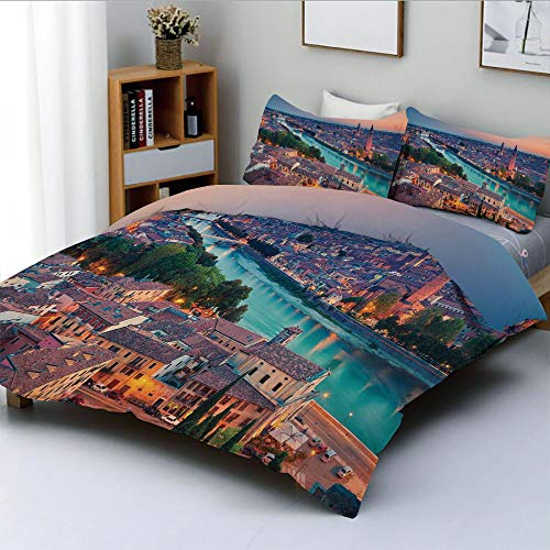 Duplex Print Duvet Cover Set Full Size,Verona Italy During Summer Sunset Blue Hour Adige River Medieval HistorcalDecorative 3 Piece Bedding Set with 2 Pillow Sham,Aqua Coral Green,Best Gift For Kids & (Verona Sectional)