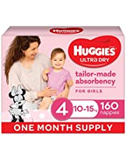 Ultra Dry Nappies Girl Size 4 (10-15kg) 1 Month Supply 160 Count