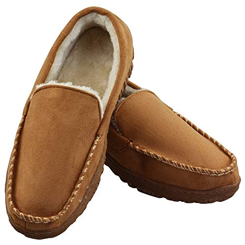 Men's Soft Warm Plush Lined Casual Indoor Outdoor Moccasin Slippers with Memory Foam US 11 Beige (FBA)