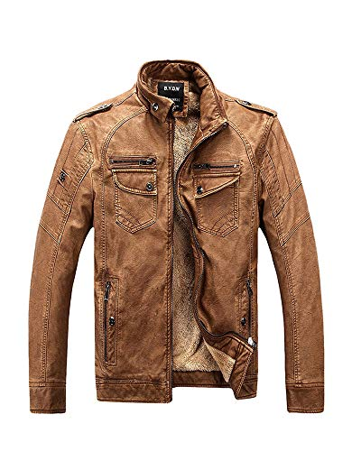Vintage PU Leather Jacket Mens Winter Casual Motorcycle Faux Leather Jackets Coat Brown Tag 3XL=US ()