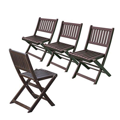 (Merry Garden Eucalyptus Folding Chairs (Set of 4), Espresso Stain)