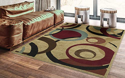 Ottomanson Royal Collection Area Rug, Beige Circles (Best Carpet For Living Room Area)