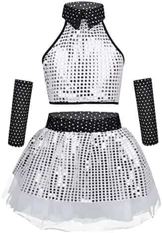 12bead833cdd iiniim Kids Girls 3PCs One Shoulder Sequins Ballet Dance Dress Performance Outfit  Crop Top with Mesh