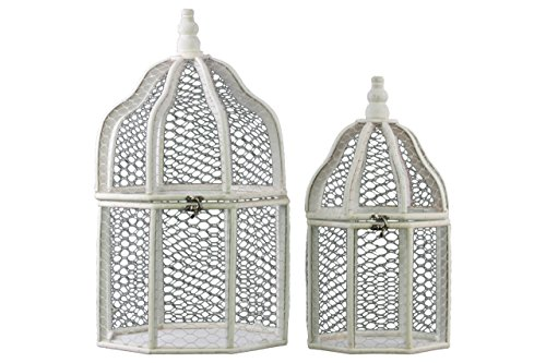 Urban Trends Wood Hexagonal Birdcage Terrarium with Mesh Design and Metal Lock Set of Two Washed Finish White, (Design Locksets)