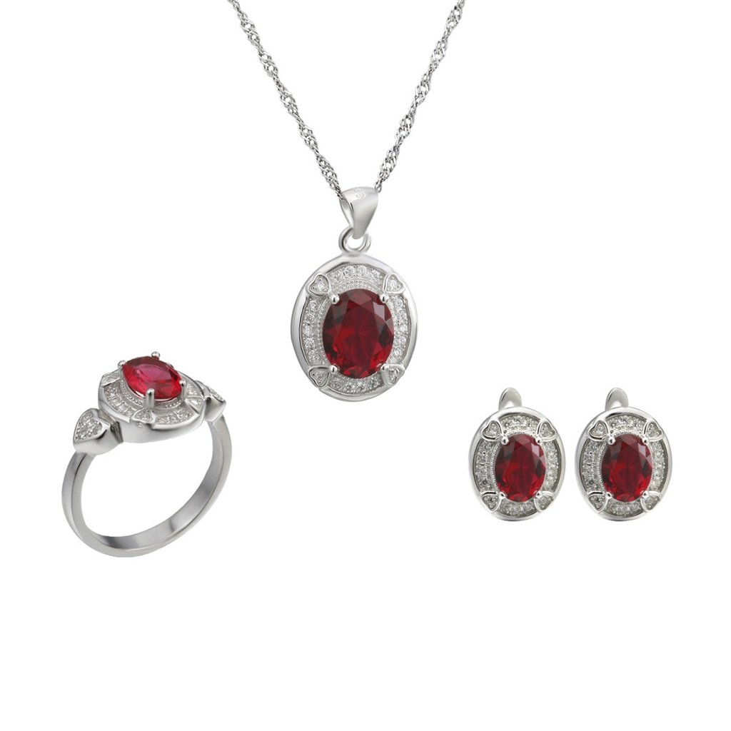 Aooaz Womens Jewelry Set, Blue Oval CZ Crystal Retro Wedding Ring Necklace Earrings Eternal Love 4 Prongs by Aooaz (Image #2)