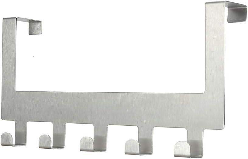 Perchero de sobre Puerta Percha Colgar Puerta - Percha Puerta para Ganchos - Perchero de para Baño, Dormitorio, Cocina, Perchero sin Taladro, Ideal para Abrigos o como Toallero (5 Ganchos - Plata)