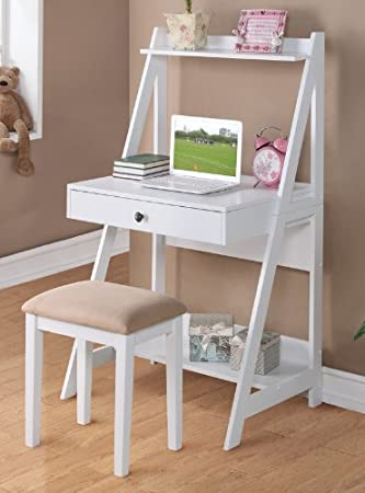 2 pc white finish wood leaning wall desk with shelves and drawer with stool