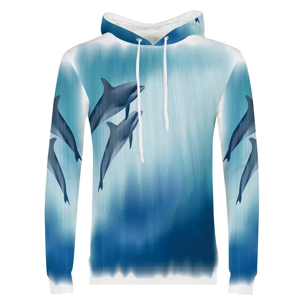 Dolphin Stylish Hoodie,Scuba Diver Girl Swimming with Dolphin Silhouette in Sea Fish Reefs Sweaters for Men /& Boys,Small