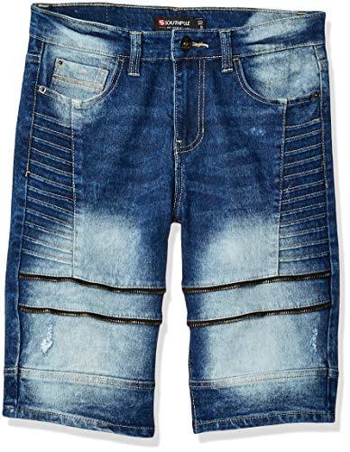 Southpole - Kids Boys' Big Denim Biker Shorts, Dark Sand Blue 3, 12