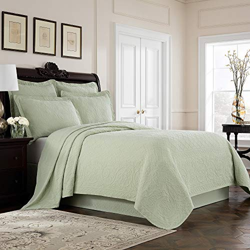 MISC Sage Green Matelasse Coverlet Queen Lightweight Embroidered Bedding Textured Floral Scrollwork Trellis Classic Cotton 90x96, 1 ()