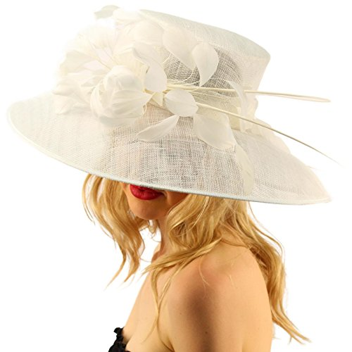 For a Queen Dome Sinamy Floral Spray Feathers Derby Floppy Dress Wide Hat White by SK Hat shop