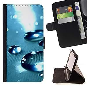 For Sony Xperia Z1 L39 Case , Blue Water gota 4- la tarjeta de Crédito Slots PU Funda de cuero Monedero caso cubierta de piel