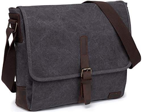 Small Messenger Bag,Vaschy Vintage Leather Canvas Men's Crossbody Shoulder Bag For Ipad Grey