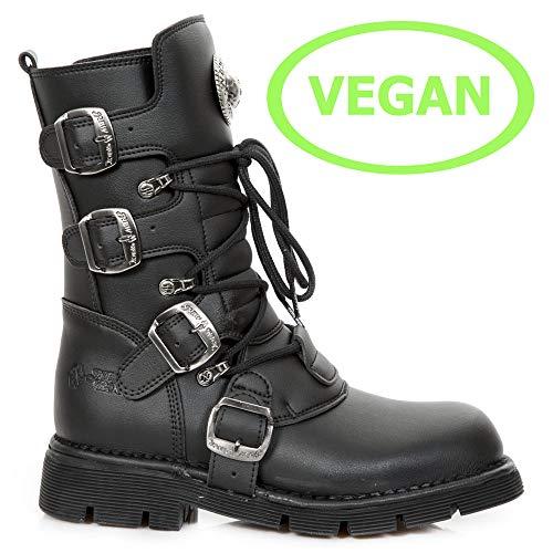 Synthetic Punk V1 Unisex Men's New Rock Vegan 1473 Women's Heavy Black Ladies Gothic Heel Boots M 1tqwCvFnwO