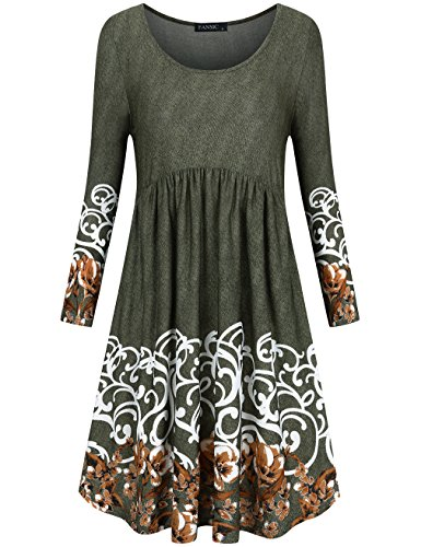 Fansic Womens T Shirt Dress With Pockets Long Sleeve Floral Pleated A Line Swing Dress  Medium  Army Green