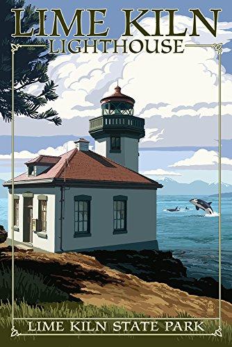 San Juan Island, Washington - Lime Kiln State Park - Lighthouse Day Scene (12x18 Fine Art Print, Home Wall Decor Artwork Poster)