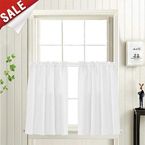 Waffle Woven Textured Short Curtains for Bathroom Water Repellent Window Covering for Kitchen (72 x 24, White, Set of Two)