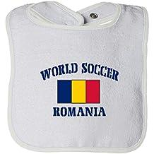 Cute Rascals World Soccer Romania Flag Tot Contrast Trim Terry Bib