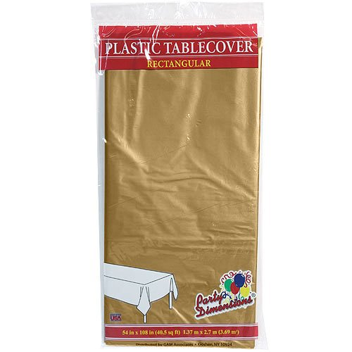 Plastic Party Tablecloths - Disposable, Rectangular Tablecovers - 4 Pack - Gold - By Party Dimensions]()