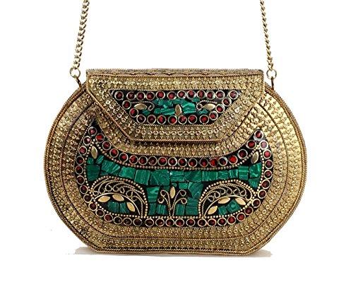 handmade-antique-metal-clutch-purse-wallet-hard-handbag-elipse-shape-for-women-golden-green-20x15-cm
