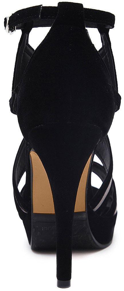 Calaier Sandalen Damen Salag 11.5CM Stiletto Schnalle Sandalen Calaier SchuheSchwarz e781b6