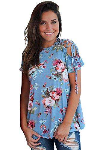 Neuf Floral bleu Top avec dentelle épaule Chemisier à manches courtes de soirée pour femme Tenue décontractée dété Taille UK 14EU 42
