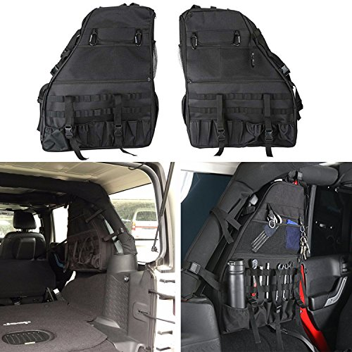 2x Roll Bar Storage Bag Cage for Jeep Wrangler,Multi-Pockets Storage & Organizers & Cargo Bag Saddlebag & Tool Kits Bottle Drink Phone Tissue Gadget Holder for 2007-2017 Jeep Wrangler JK 4-door (Saddlebag Tool Kit)