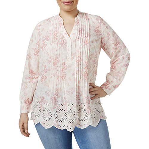 Style & Co. Womens Plus Woven Floral Print Pullover Top Pink 1X (& Style Blouse Floral . Co)