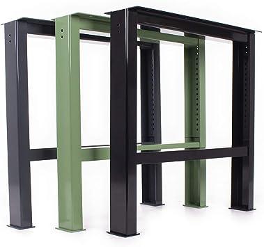 Banco De Estructura acero wbg de 650/700 – 1000 Mesa de trabajo Altura Regulable Pack mesa de banco de taller Soporte Base de mesa Pie de acero Metal (1 pieza): Amazon.es: Bricolaje y herramientas