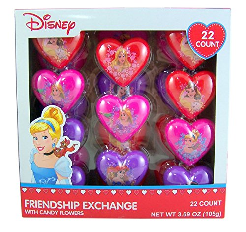 Disney Princess Valentines Day Friendship Exchange Plastic Heart with Candy Flowers, 22 (Princess Valentines Day Cards)