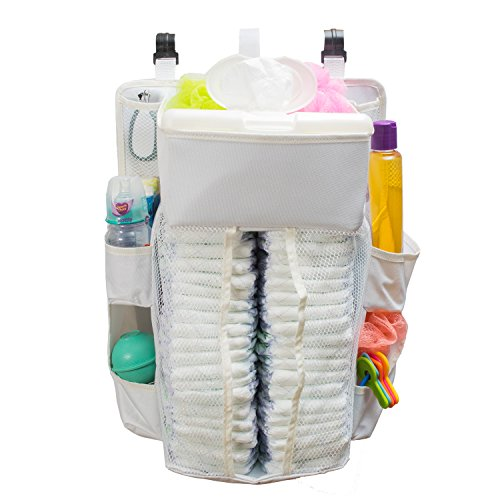 Baby Diaper Caddy & Nursery Organizer – 17 X 13.5 Inches – Durable, Safe Material – 40 Diaper Capacity – 8 Compartments Of Various Sizes That Can Hold All Baby Essentials – Sturdy Hooks For Easy Use
