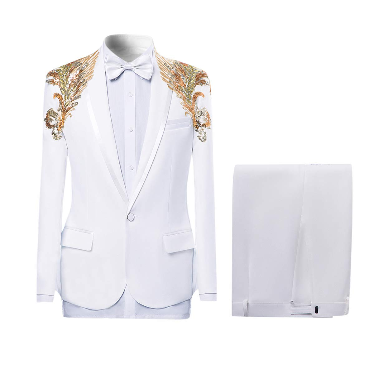 Cloudstyle Mens 2-Piece Suits Shawl Lapel 1 Button Wedding Blazer Dinner Jacket and Pants