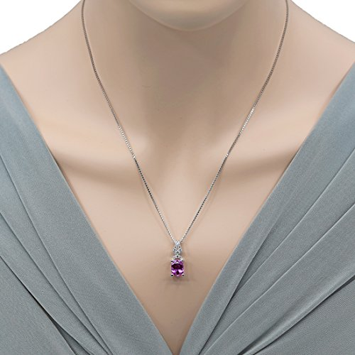 Sterling Silver Cushion Cut Ritzy Pendant Necklace in Various Gemstones
