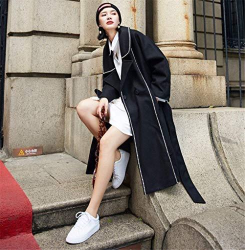 Outerwear Fashion Elegantes Manga Modernas Largo Largo Cinturón De Casuales Abrigos Solapa Gabardina Abrigo Otoño Estilo Relaxed Transición Mujer Huixin Schwarz con De pxI4vqUnw