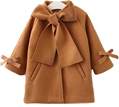 Chennie Kids Girl Winter Cloak Coat Button Down Bowknot Jacket 2-7 Toddler Outwear Overcoat