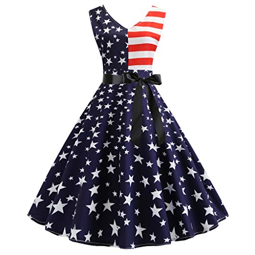 aihihe Women's Indepandence Day July 4th Party Dresses Short Sleeve Floral USA Flag Midi Tank Dress (Blue2,M) ()