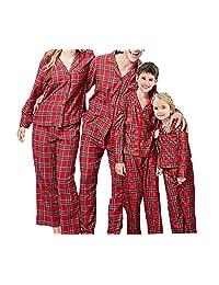 hujukuludusu Christmas Family Matching Pajamas Set Red Plaid Sleepwear Homewear