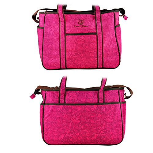 Denshine Mummy Bolso cambiador de pañales para bebé bolsa (forro de PVC impermeable de tela, 39* 13* 29cm/12,6* 5.1* 11.4inch) rosso rosa (b)